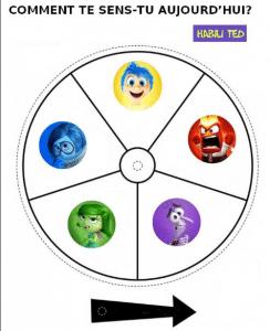 Roue des émotions avec les 5 émotions primaires (joie, colère, peur, dégoût et tristesse)